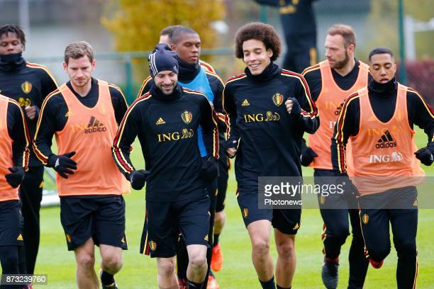 Laurent Ciman defender of Belgium and Axel Witsel midfielder of Belgium picture during the press conference and training session of the Red Devils at...