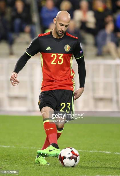 Laurent Ciman of Belgium in action during the FIFA 2018 World Cup Qualifier between Belgium and Greece at Stade Roi Baudouin on March 25 2017 in...