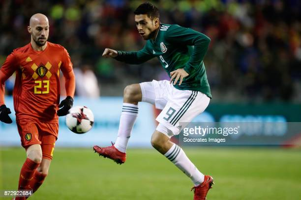 Laurent Ciman of Belgium Raul Jimenez of Mexico during the International Friendly match between Belgium v Mexico at the Koning Boudewijnstadion on...