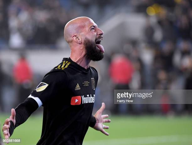 Laurent Ciman of Los Angeles FC celebrates a 10 win over the Seattle Sounders in extra time during the inaugural home game at Banc of California...