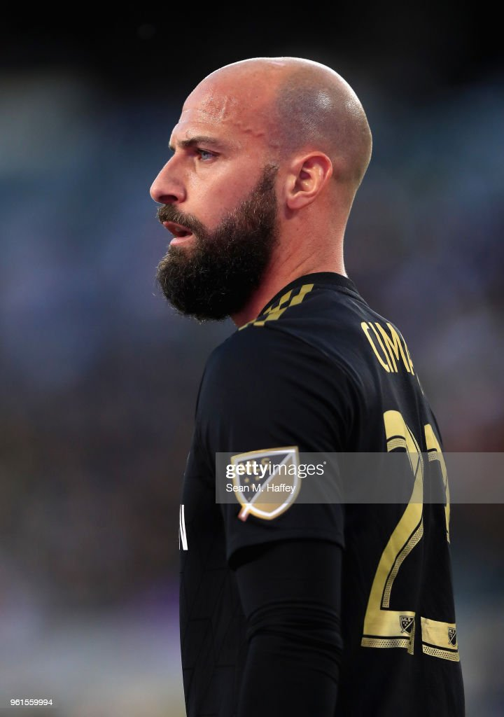 Laurent Ciman #23 of Los Angeles FC looks on during the first half of an International friendly soccer match against the Borussia Dortmund at Banc of California Stadium on May 22, 2018 in Los Angeles, California.