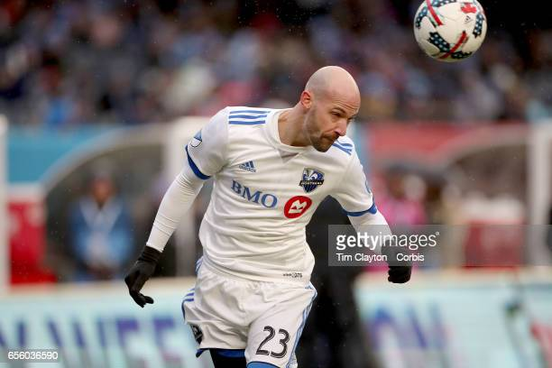 Laurent Ciman of Montreal Impact in action during the New York City FC Vs Montreal Impact regular season MLS game at Yankee Stadium on March 18 2017...