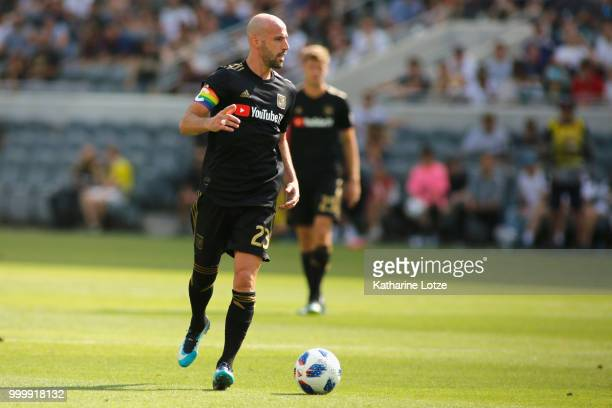 Laurent Ciman of the Los Angeles Football Club looks down the field during action against the Portland Timbers at Banc of California Stadium on July...