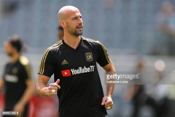 Laurent Ciman of the Los Angeles Football Club looks to the crowd as he takes to the field before action against the Portland Timbers at Banc of...