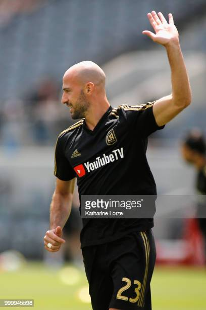Laurent Ciman of the Los Angeles Football Club waives to the crowd at Banc of California Stadium on July 15 2018 in Los Angeles California