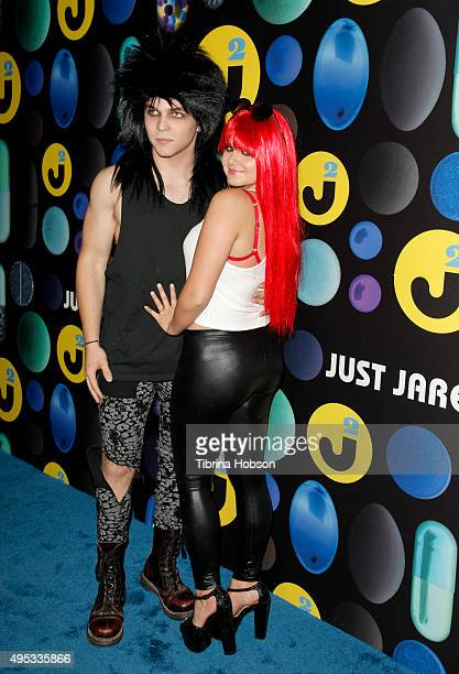 Laurent Claude Gaudette and Ariel Winter attend the Just Jared Halloween Party at No Vacancy on October 31 2015 in Los Angeles California