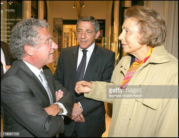 Laurent Dassault Michel Cicurel and Liliane Bettencourt at Opening Of Gerard Oury's Art Collection To Be Auctioned