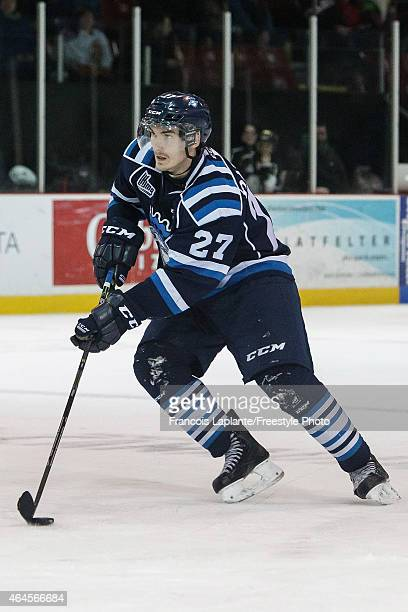 Laurent Dauphin of the Chicoutimi Sagueneens skates with the puck against the Gatineau Olympiques during a game on February 20, 2015 at Robert...