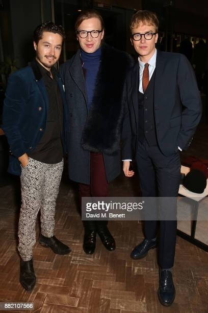 Laurent de Brabandt Henry Conway and Fletcher Cowan attend the launch of the Hardy Amies x VOLPE VIP collaboration at Hardy Amies Savile Row on...