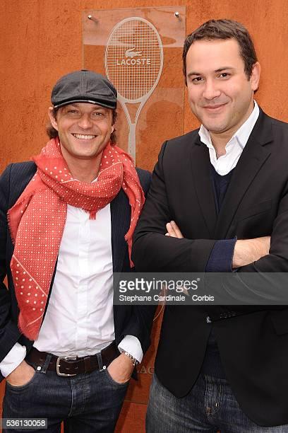 Laurent Delahousse and Bruce Toussaint at Roland Garros Village