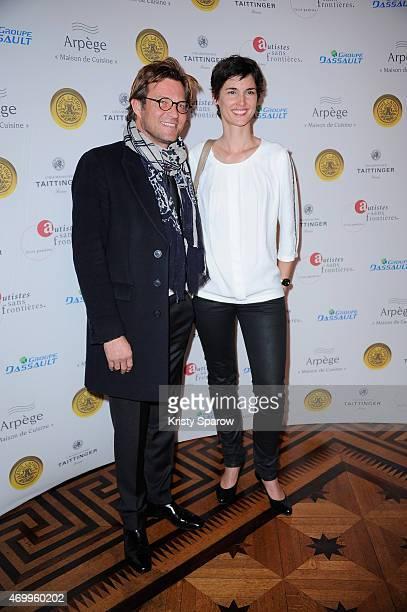 Laurent Delahousse and Eglantine Emeye attend the 'Autistes Sans Frontiere' Charity Gala at Artcurial Dassault on April 16 2015 in Paris France