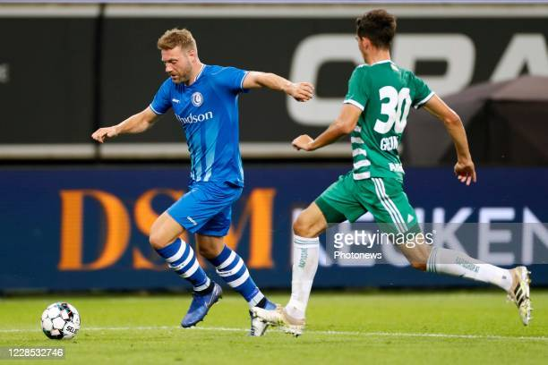 Laurent Depoitre forward of KAA Gent during the UEFA Champions League third qualifying round match between KAA Gent and SK Rapid Wien on September...