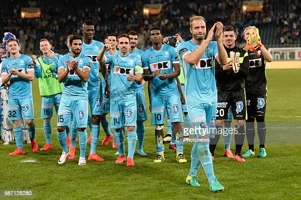 Laurent Depoitre forward of KAA Gent greets the supporters after the victory during the Jupiler Pro League match between KAA Gent and KRC Genk at the...