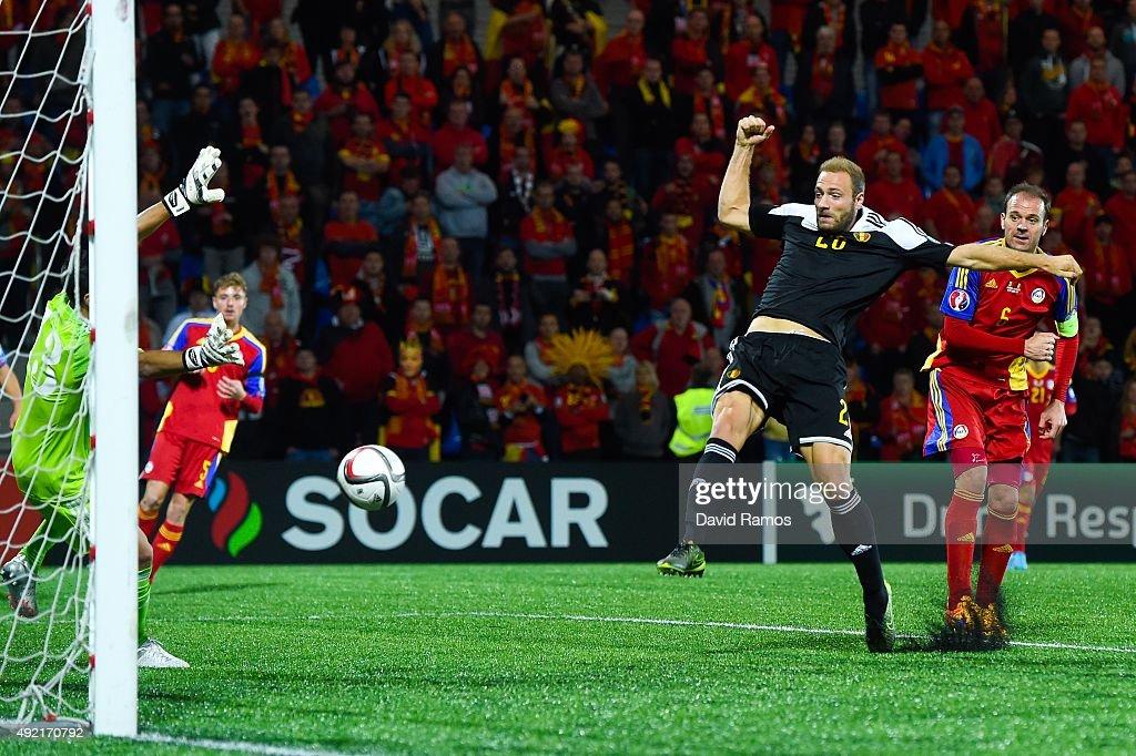 Laurent Depoitre of Belgium scores his team's fourth goal during the UEFA EURO 2016 Qualifier match between Andorra and Belgium at Estadi Nacional d'Andorra la Vella on October 10, 2015 in Andorra la Vella, Andorra.