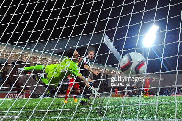 Laurent Depoitre of Belgium scores his team's fourth goal during the UEFA EURO 2016 Qualifier match between Andorra and Belgium at Estadi Nacional...