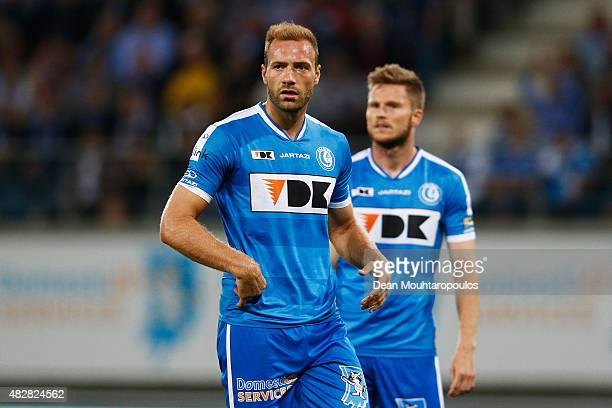 Laurent Depoitre of Gent in action during the Jupiler League match between KAA Gent and KRC Genk held at the Ghelamco Arena on July 31 2015 in Gent...
