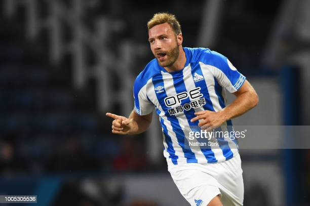 Laurent Depoitre of Huddersfield celebrates after scoring during a preseason friendly match between Huddersfield Town and Olympique Lyonnais at John...