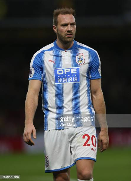 Laurent Depoitre of Huddersfield during the Premier League match between Watford and Huddersfield Town at Vicarage Road on December 16 2017 in...