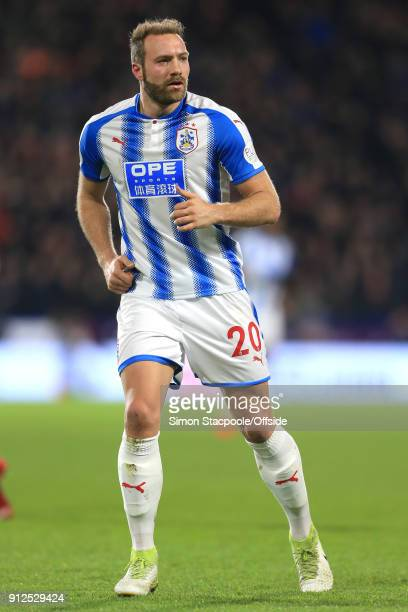 Laurent Depoitre of Huddersfield in action during the Premier League match between Huddersfield Town and Liverpool at the John Smith's Stadium on...
