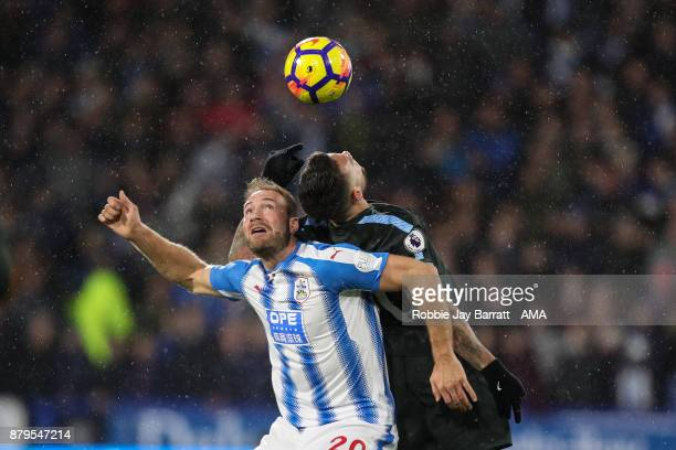 Laurent Depoitre of Huddersfield Town and Nicolas Otamendi of Manchester City during the Premier League match between Huddersfield Town and...