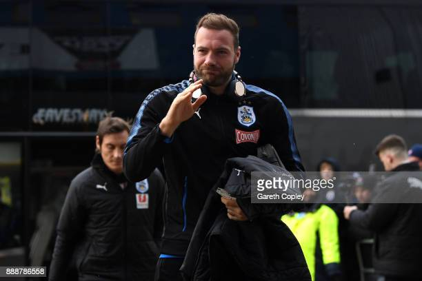 Laurent Depoitre of Huddersfield Town arrives at the stadium prior to the Premier League match between Huddersfield Town and Brighton and Hove Albion...