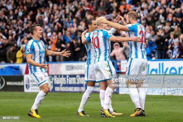 Laurent Depoitre of Huddersfield Town celebrates after scoring a goal to make it 20 during the Premier League match between Huddersfield Town and...