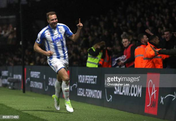 Laurent Depoitre of Huddersfield Town celebrates after scoring his sides third goal during the Premier League match between Watford and Huddersfield...