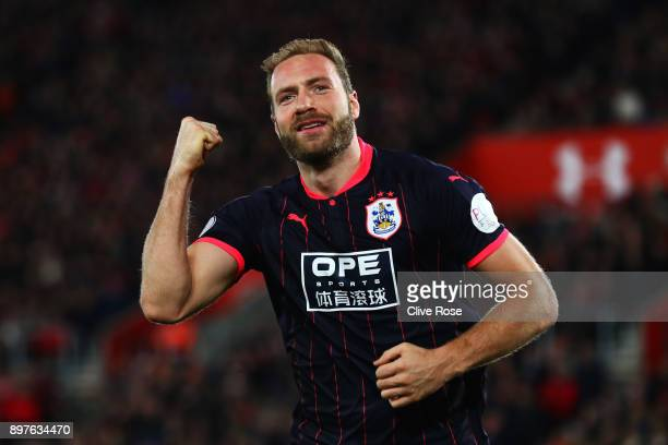 Laurent Depoitre of Huddersfield Town celebrates after scoring his sides first goal during the Premier League match between Southampton and...