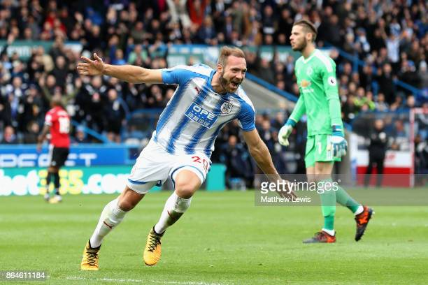 Laurent Depoitre of Huddersfield Town celebrates as he scores their second goal during the Premier League match between Huddersfield Town and...