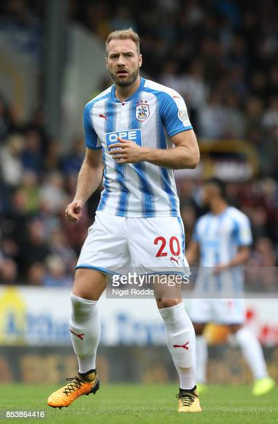 Laurent Depoitre of Huddersfield Town during the Premier League match between Burnley and Huddersfield Town at Turf Moor on September 23 2017 in...