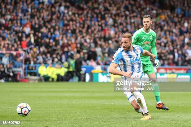 Laurent Depoitre of Huddersfield Town scores a goal to make it 20 during the Premier League match between Huddersfield Town and Manchester United at...