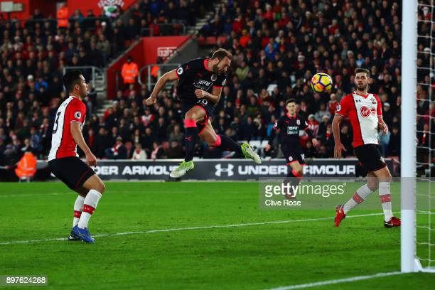 Laurent Depoitre of Huddersfield Town scores his sides first goal during the Premier League match between Southampton and Huddersfield Town at St...