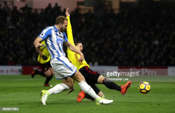 Laurent Depoitre of Huddersfield Town scores his sides third goal during the Premier League match between Watford and Huddersfield Town at Vicarage...