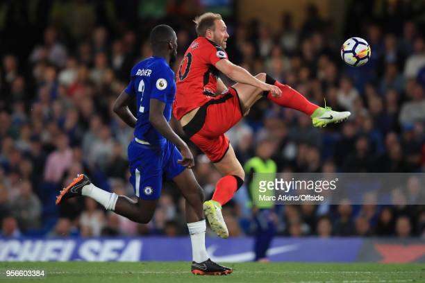 Laurent Depoitre of Huddersfield Town scores the opening goal during the Premier League match between Chelsea and Huddersfield Town at Stamford...