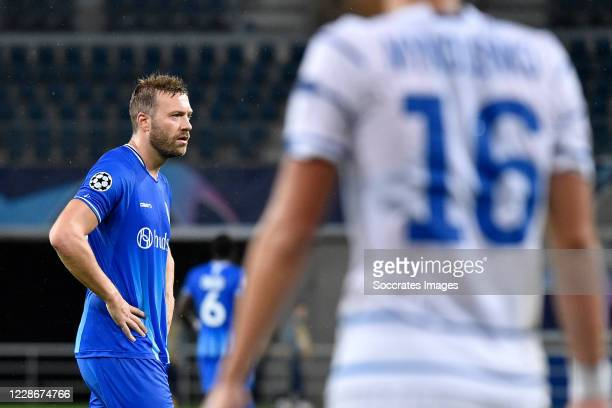 Laurent Depoitre of KAA Gent during the UEFA Champions League match between Gent v Dinamo Kiev at the Ghelamco Arena on September 23 2020 in Gent...