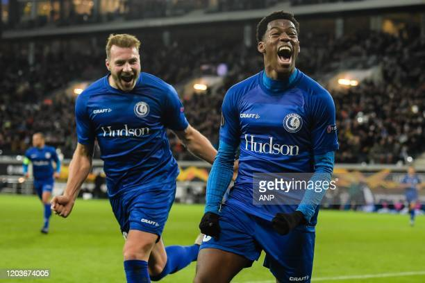 Laurent Depoitre of KAA Gent, Jonathan David of KAA Gent during the UEFA Europa League round of 32 second leg match between KAA Gent v AS Roma at...