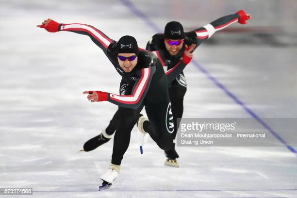 Laurent Dubreuil and Vincent de Haitre of Canada compete in the Men's Team Sprint event on day three during the ISU World Cup Speed Skating held at...