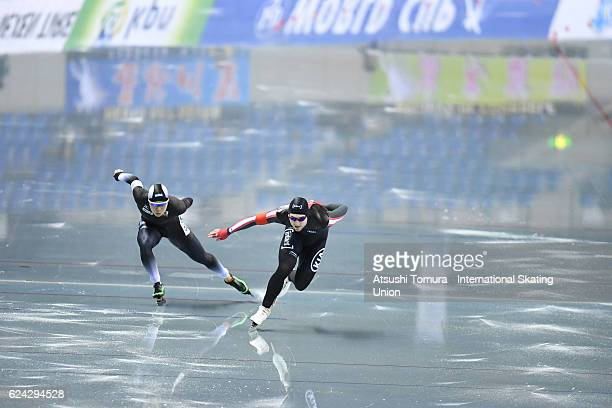 Laurent Dubreuil of Canada and Taro Kondo of Japan compete in the Men 1000m Division B at M Wave on November 19 2016 in Nagano Japan