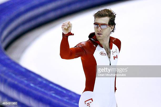 Laurent Dubreuil of Canada celebrates after he competes in the mens 500m race during day 4 of the ISU World Single Distances Speed Skating...