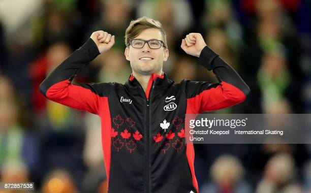 Laurent Dubreuil of Canada celebrates winning the second men 500m Division A race competes on Day Two during the ISU World Cup Speed Skating at the...