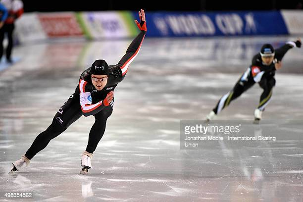 Laurent Dubreuil of Canada competes against Yuya Oikawa of Japan in the Men's 500m race on day three of the ISU World Cup Speed Skating Salt Lake...