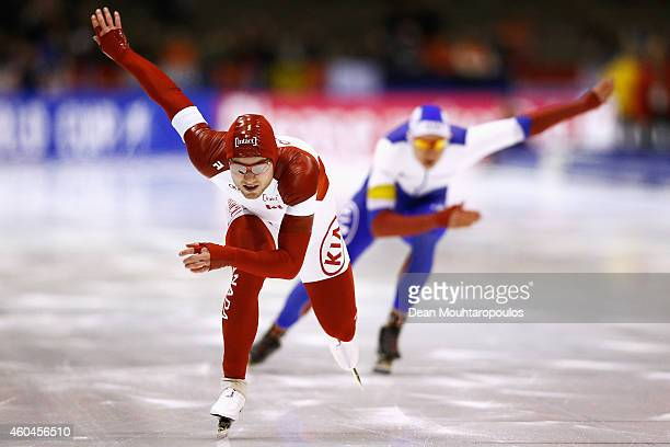 Laurent Dubreuil of Canada competes in the Division A 2nd 500m Mens race on day three of the ISU World Cup Speed Skating held at Thialf Ice Arena on...