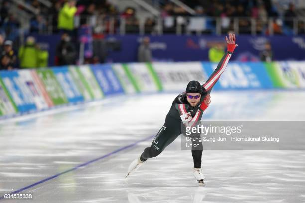 Laurent Dubreuil of Canada competes in the Men 500 during the ISU World Single Distances Speed Skating Championships Gangneung Test Event For...