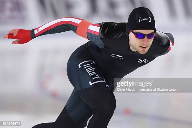 Laurent Dubreuil of Canada competes in the Men Divison A 500m race during the ISU World Cup Speed Skating Day 1 at the Sportforum Berlin Stadium on...