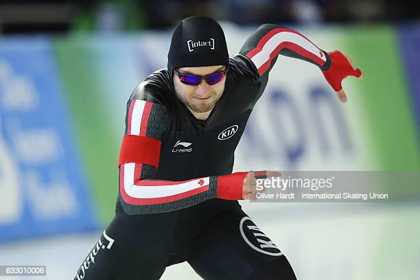 Laurent Dubreuil of Canada competes in the Men Divison A 500m race during the ISU World Cup Speed Skating Day 3 at the Sportforum Berlin Stadium on...