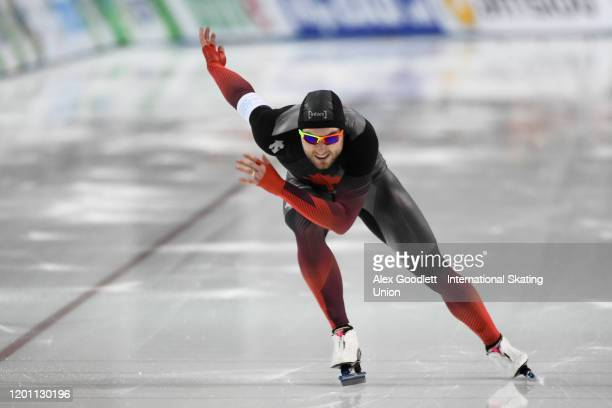 Laurent Dubreuil of Canada competes in the men's 1000 meter during the ISU World Single Distances Speed Skating Championships on February 15, 2020 in...