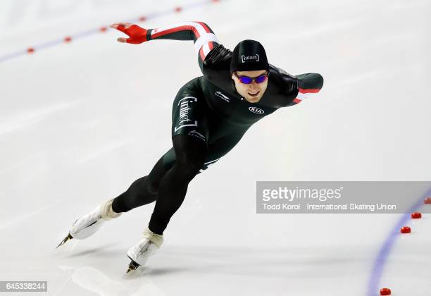 Laurent Dubreuil of Canada competes in the men's 500 meter race during the ISU World Sprint Speed Skating Championships February 25 2017 in Calgary...