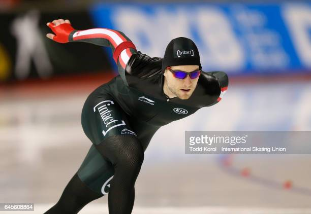 Laurent Dubreuil of Canada competes in the men's 500 meter race during the ISU World Sprint Speed Skating Championships on February 26 2017 in...
