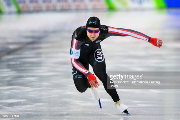 Laurent Dubreuil of Canada competes in the men's 500 meter race during day 2 of the ISU World Cup Speed Skating event on December 9 2017 in Salt Lake...