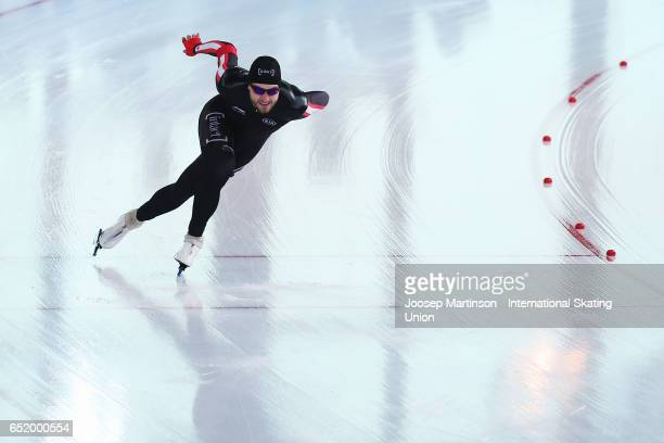 Laurent Dubreuil of Canada competes in the Men's 500m during day 1 of the ISU World Cup Speed Skating at Soermarka Arena on March 11 2017 in...